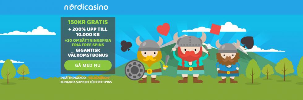 Nordicasino bonus code ALLACASINON ger dig 150 kr gratis utan insättning!