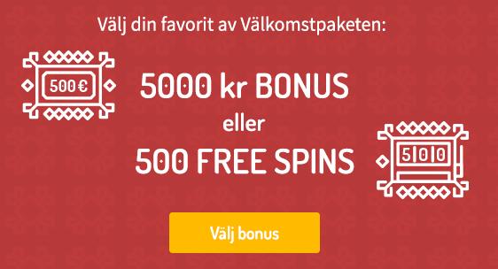 Karjala Kasino bonuskod: alla casino koder för att få 500 free spins eller 5000 kr i välkomstbonus!