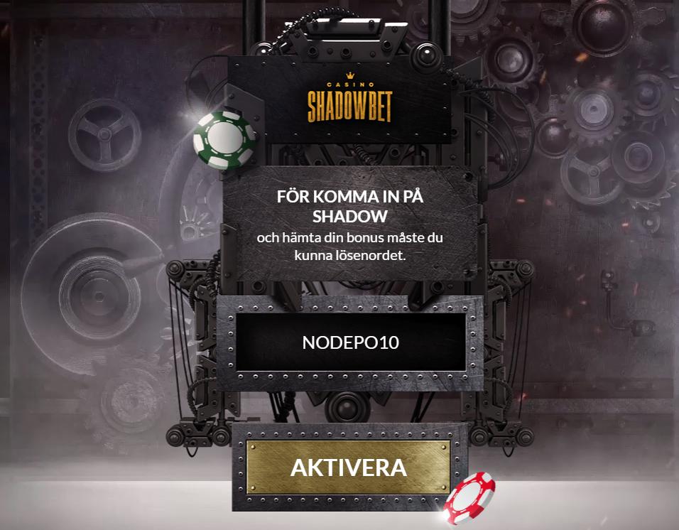 ShadowBet bonuskod: ange koden NODEPO10 för att aktivera din bonus med 10 free spins!