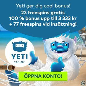Yeti Casino bonuskod cool bonus av 23 gratis free spins