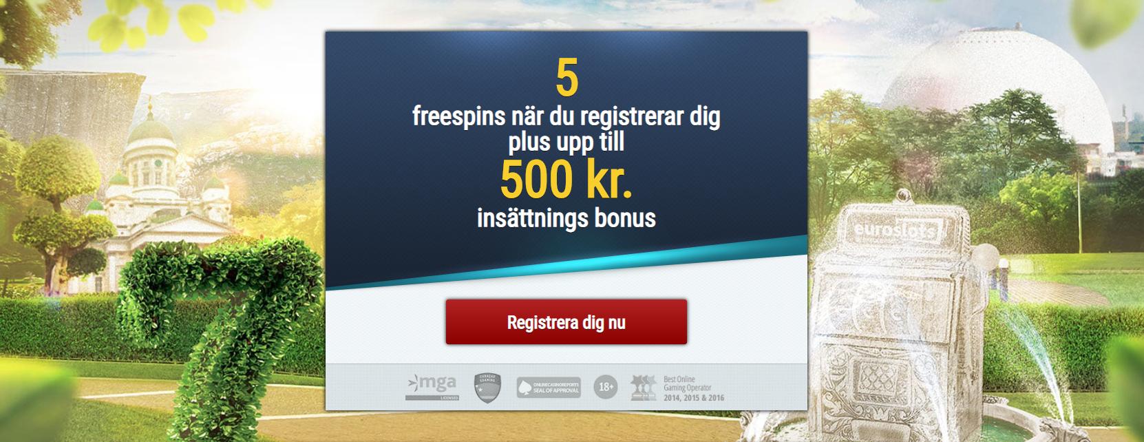 Euroslots bonuskod - 5 freespins vid registrering +500 kr casino bonus i välkomstbonus!