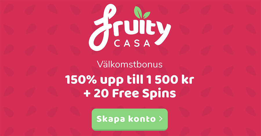 Fruity Casino bonus - 20 free spins och 150% bonus