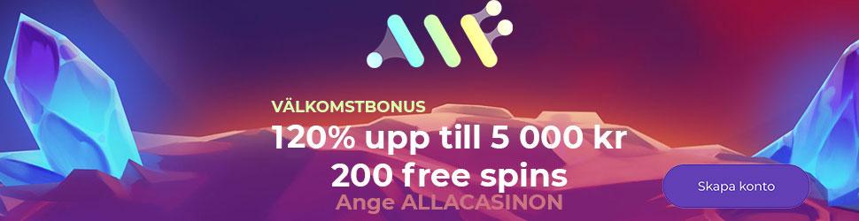 Alf Casino exklusiva välkomstpaket - 120% upp till 5 000 kr samt 200 free spins